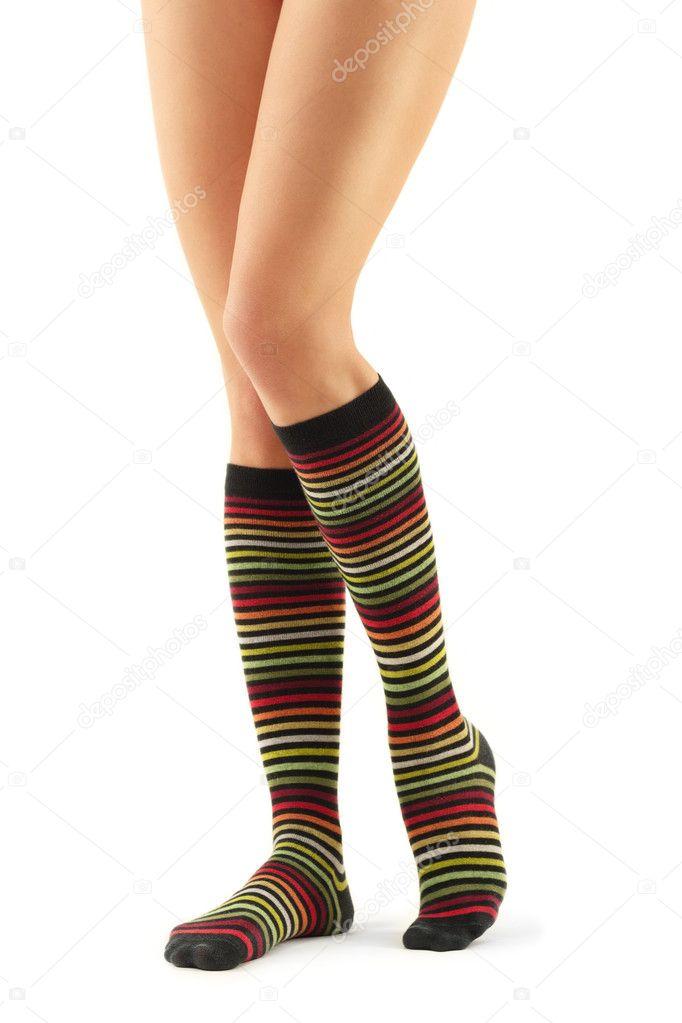 Legs long female in striped socks