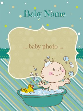 Baby Boy Shower and Arrival Card - with place for your text in v