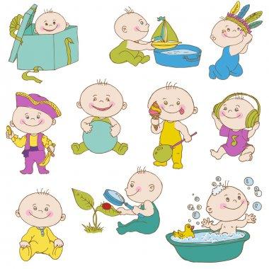 Baby Boy Doodle Set - for design, scrapbook, shower, arrival card