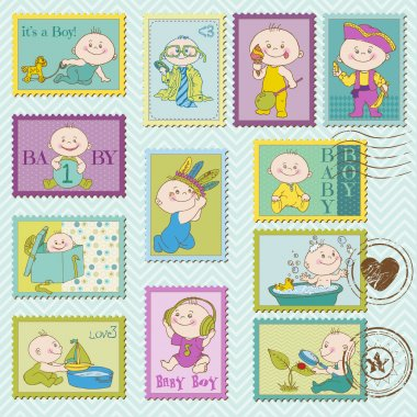 Baby Boy Postage Stamps - for design and scrapbook - in vector