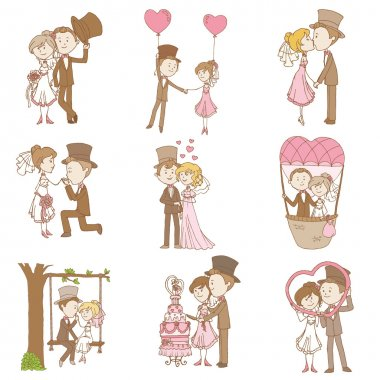 Bride and Groom - Wedding Doodle Set - Scrapbook Design Elements