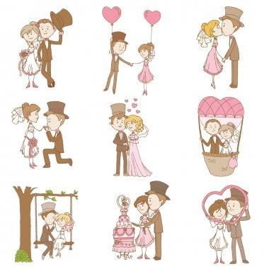 Bride and Groom - Wedding Doodle Set - Design Elements for Scrapbook, Invitation in vector stock vector