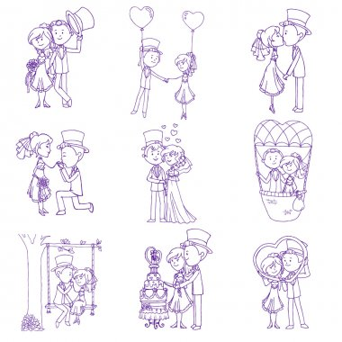 Wedding Doodles - Design Elements - for Scrapbook, Invitation in vector clip art vector