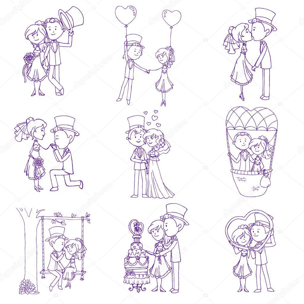 Wedding Doodles - Design Elements - for Scrapbook, Invitation in vector clipart vector