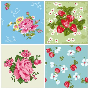 Set of Seamless Vintage Floral backgrounds - for scrapbook