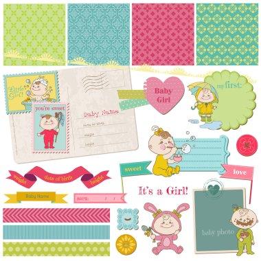 Scrapbook Design Elements - Baby Girl Shower Set - in vector