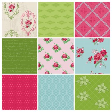 Seamless background Collection - Vintage Flowers - for design