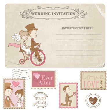 Wedding Postcard and Postage Stamps - for wedding design, invitation, congratulation, scrapbook clip art vector