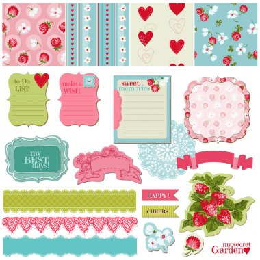Scrapbook Design Elements - Vintage Flowers and Strawberry Set