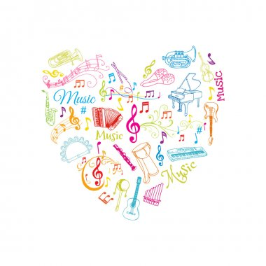 Musical Notes and Instruments Illustration - in vector