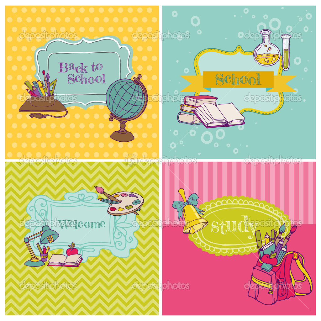 Card Collection - Back to School - for design and scrapbook