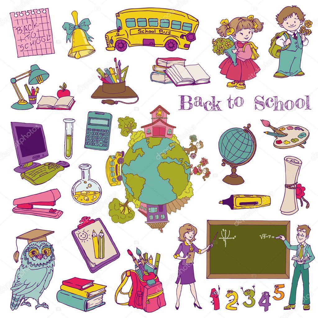 Scrapbook Design Elements - Back to School- for design and scrap