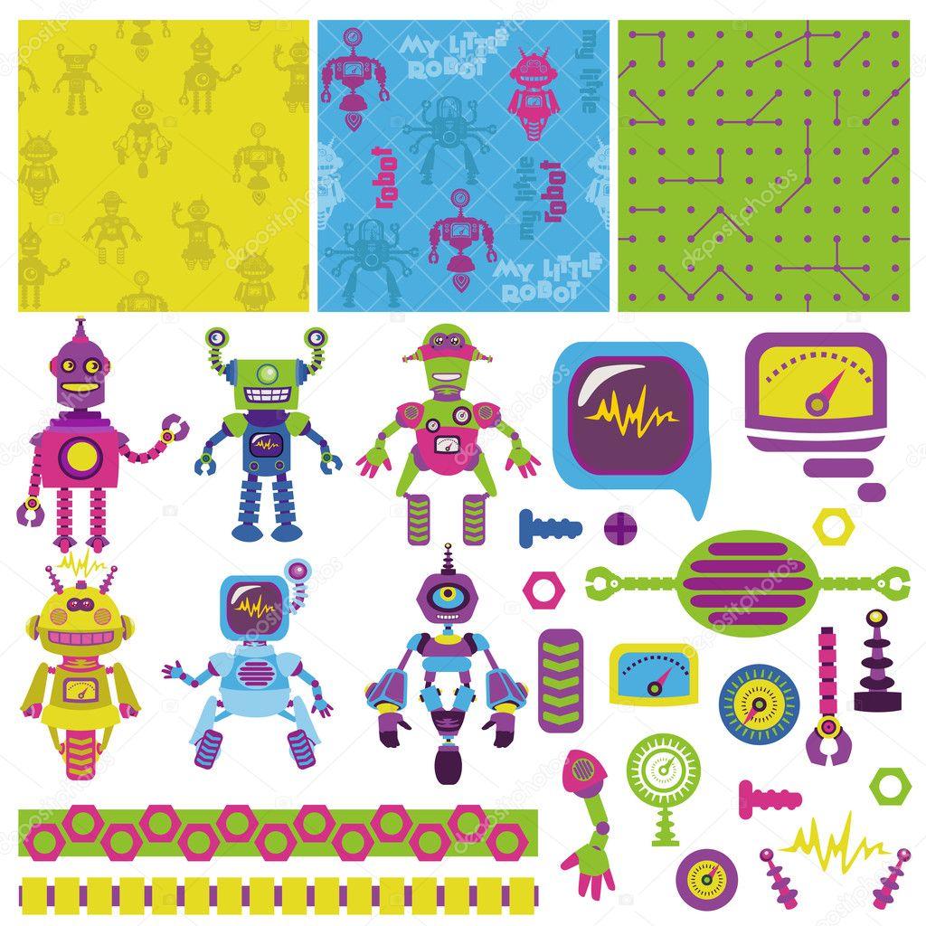 Scrapbook Design Elements - Cute Little Robots Collection