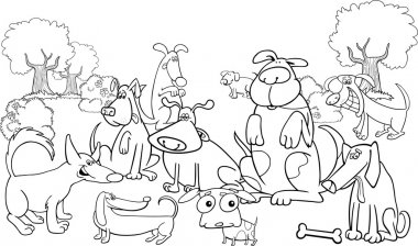 Cartoon dogs on the meadow for coloring