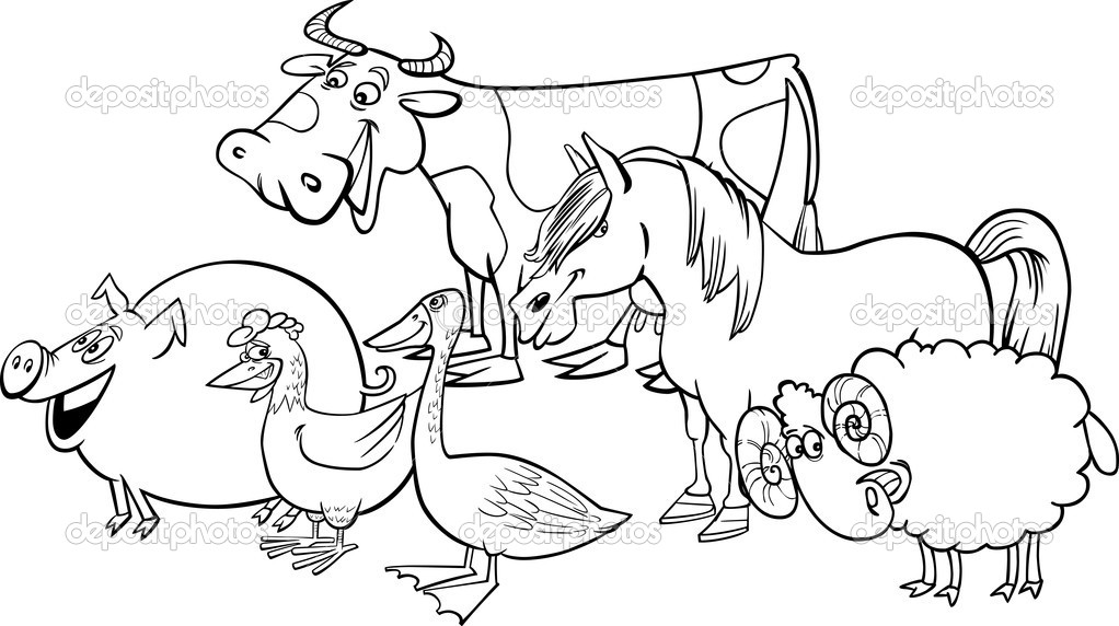 cartoon illustration of funny farm animals group for coloring book vector by izakowski