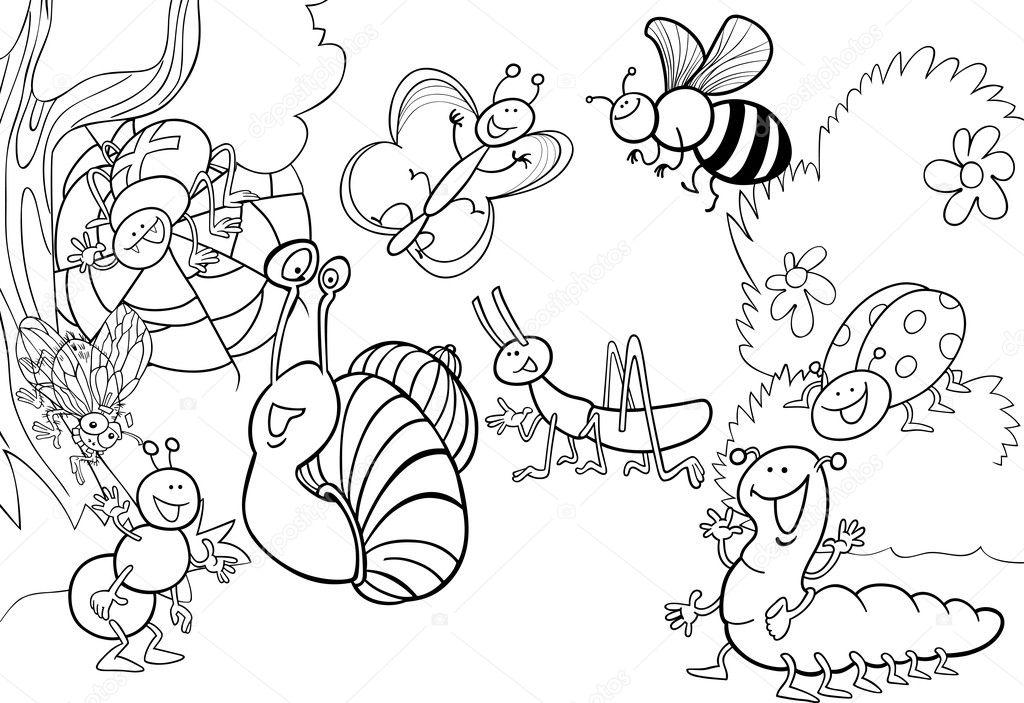 dibujos animados de insectos en el Prado para colorear — Vector de ...