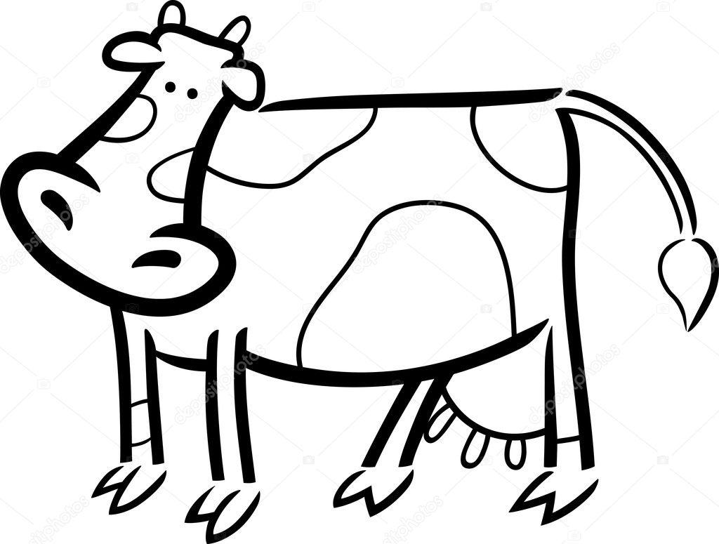 çiftlikte Inek Boyama Doodle çizgi Film Stok Vektör Izakowski