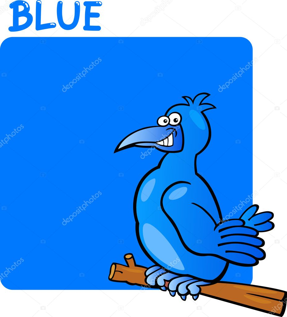 historieta de color azul y el pájaro — Archivo Imágenes Vectoriales ...