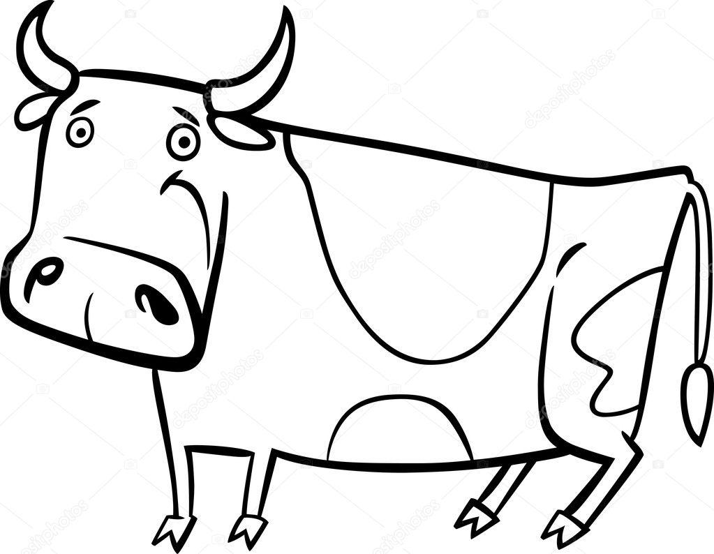 Ilustración de dibujos animados de la vaca de granja para colorear ...
