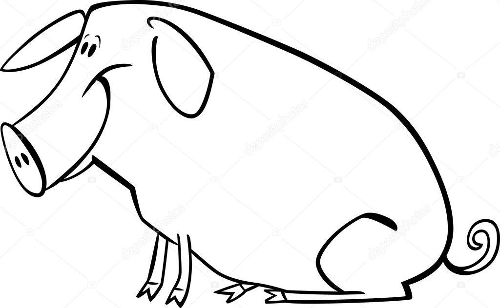 cerdo de dibujos animados para colorear página — Vector de stock ...