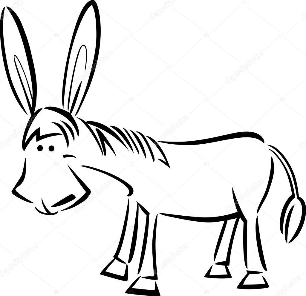 Karikatür çizimi Eşek Boyama Stok Vektör Izakowski 11444919