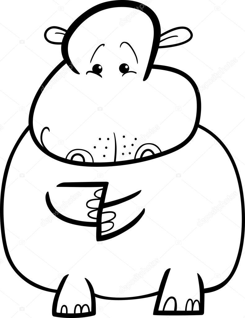 hipopótamo o hipopótamo para colorear libro — Archivo Imágenes ...