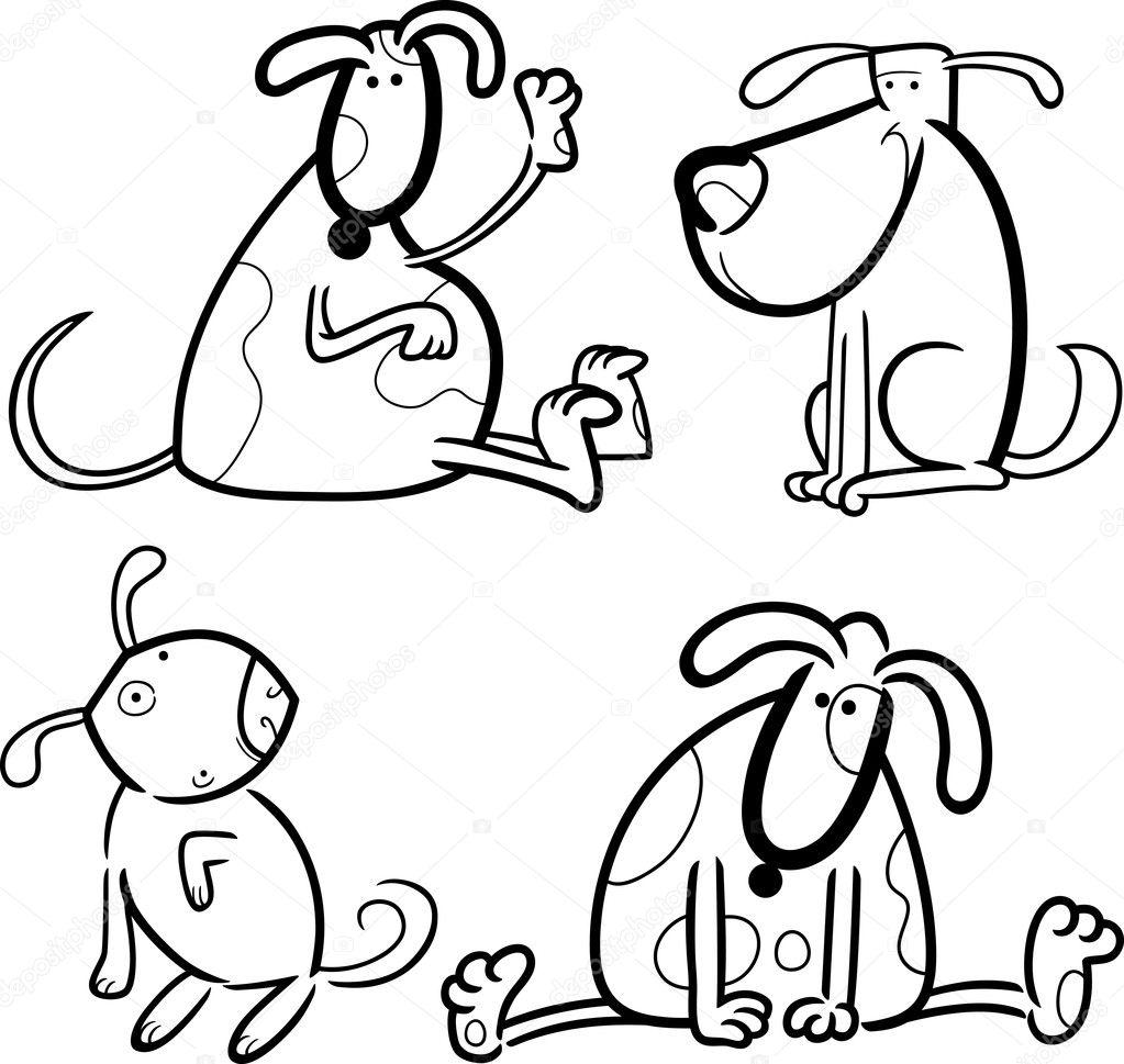 perros y cachorros para colorear — Archivo Imágenes Vectoriales ...