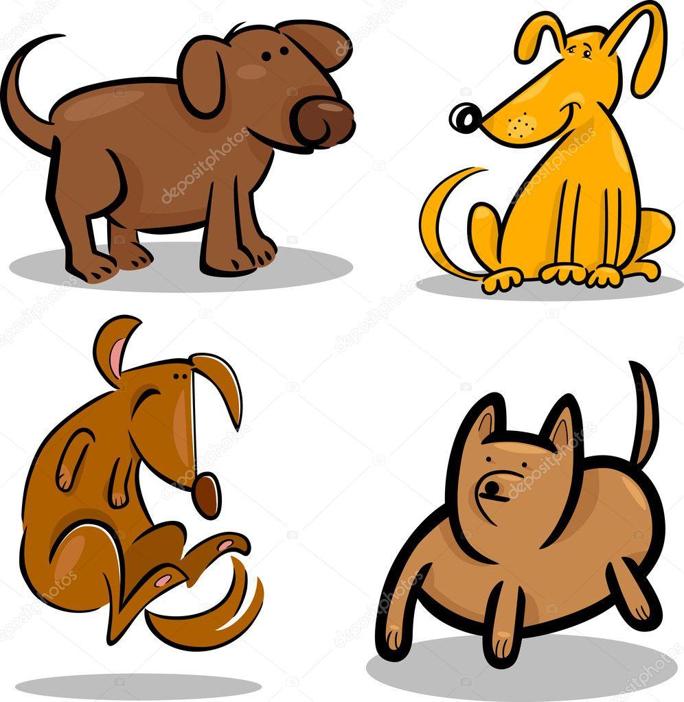 conjunto de cães ou filhotes de cachorro bonito dos desenhos