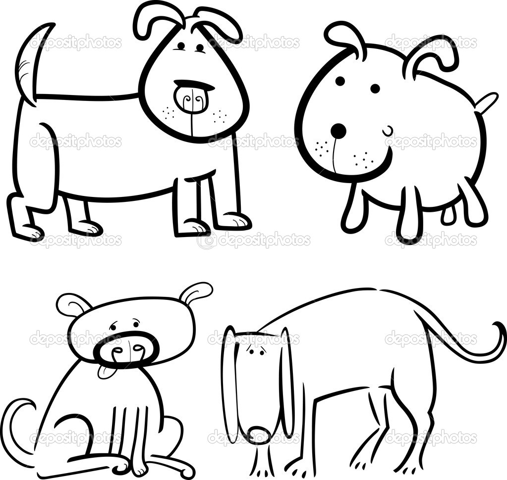 perros y cachorros para colorear — Vector de stock © izakowski #11723564