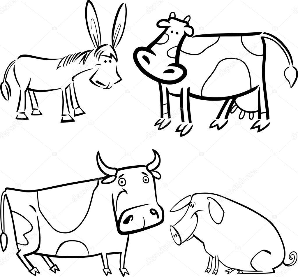 animales de granja para colorear — Archivo Imágenes Vectoriales ...