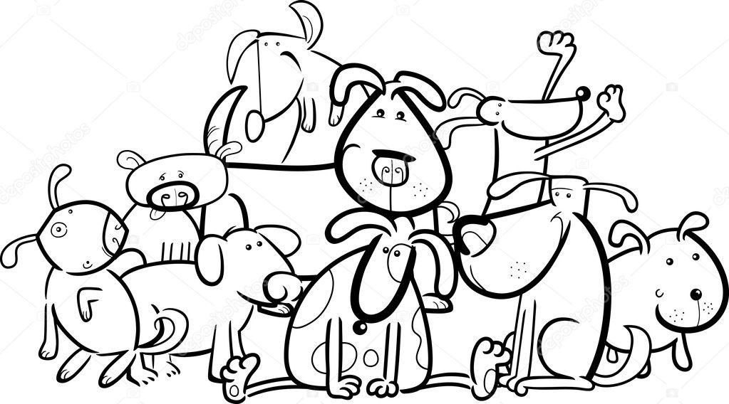 Grupo de dibujos animados de perros para colorear — Archivo Imágenes ...