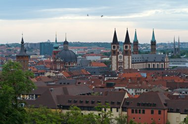View on Wuerzburg from Marienberg fortress, Germany