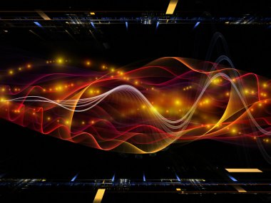 Composition of abstract sine waves and design elements suitable as a backdrop for the projects on modern computing, virtual reality and signal processing stock vector
