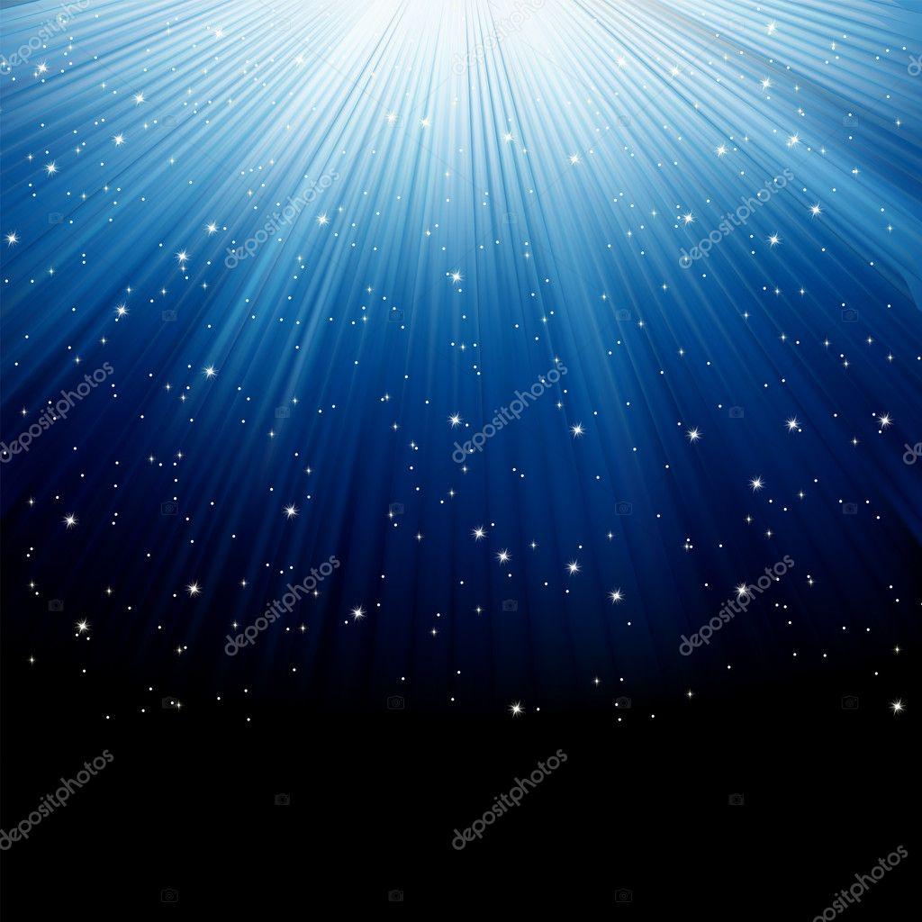 Snow and stars on blue luminous rays. EPS 8