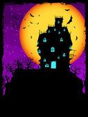 Fotografie dům na kopci v noci s měsícem. EPS 8