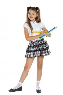 A little girl is in a school form which had an idea, isolated on a white background