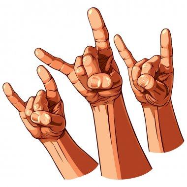 Set of three heavy metal hands. Vector illustration stock vector