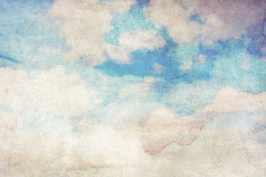 Grungy background with white clouds on blue sky stock vector