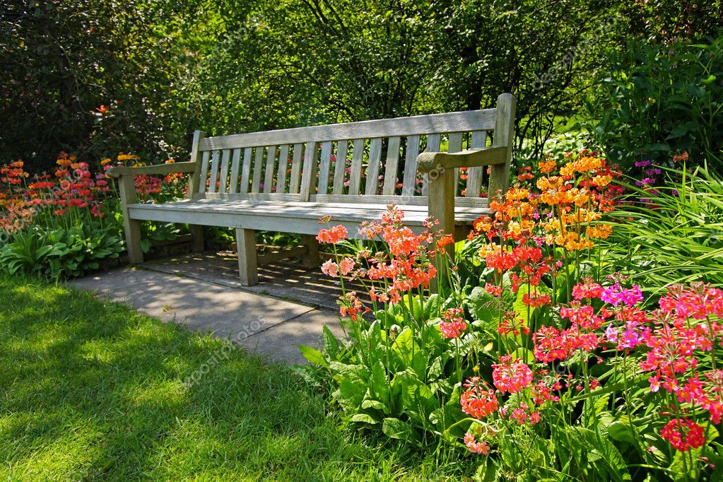 Wooden bench and bright blooming flowers