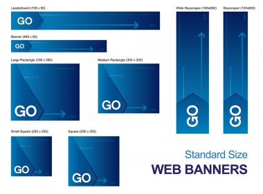 Standard size web banners collection, all the elements can be scaled to any size without loss of resolution. stock vector