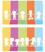 Fotografie Happy children silhouettes background
