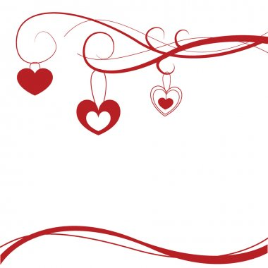 Red hearts shapes background with curls and curves clip art vector