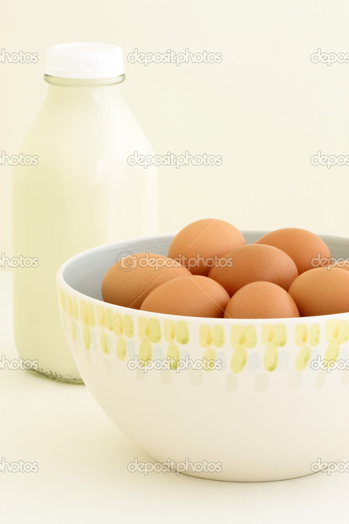 Fresh eggs and milk