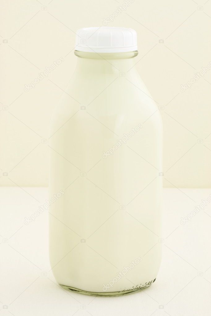 Quart glass milk bottle