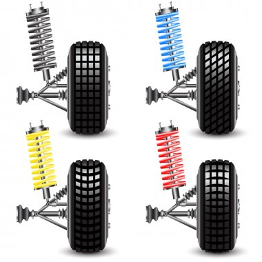 Set front car suspension, frontal view Illustration