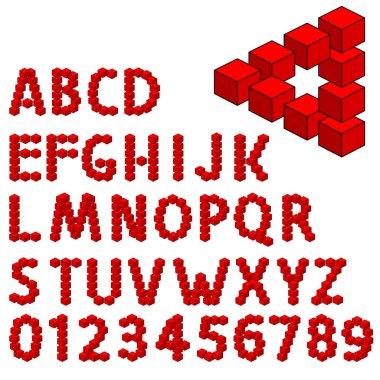 Abstract optical illusion three dimension alphabet set.