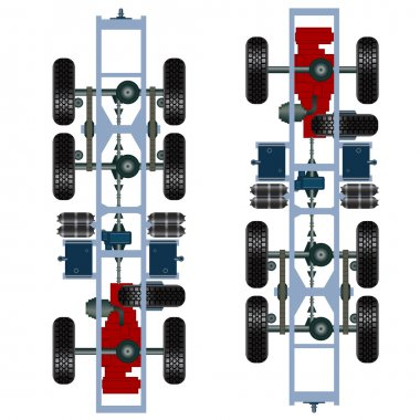Truck suspension, top view.