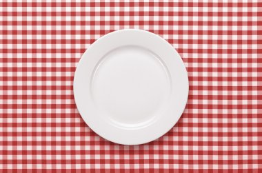 Empty plate at classic checkered tablecloth stock vector