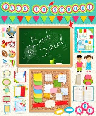 Back to school scrapbook elements.
