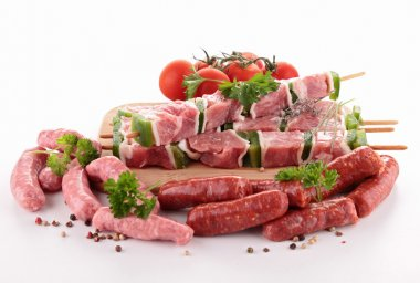 Assortment of raw meats